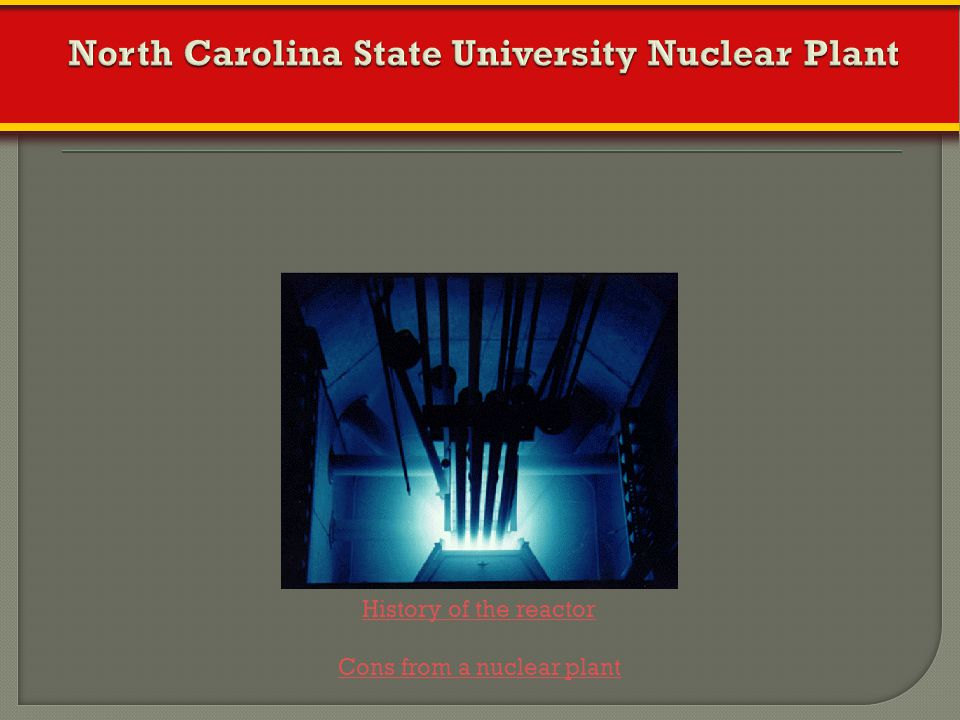 North Carolina State University Nuclear Plant