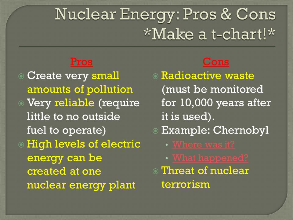 Nuclear Energy: Pros & Cons *Make a t-chart!*
