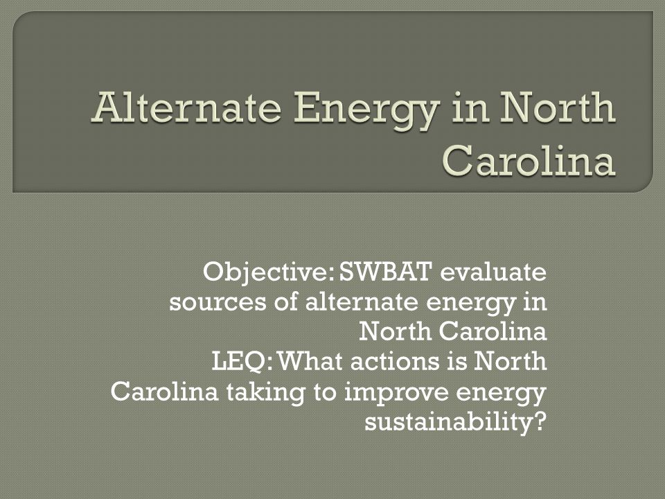 Alternate Energy in North Carolina