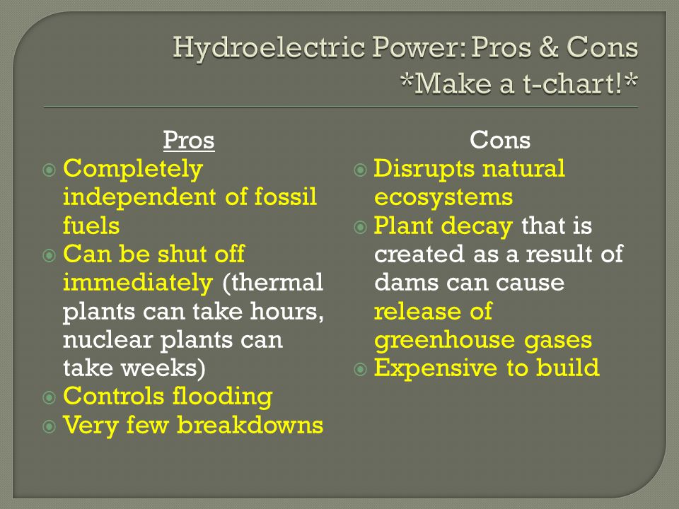 Hydroelectric Power: Pros & Cons *Make a t-chart!*