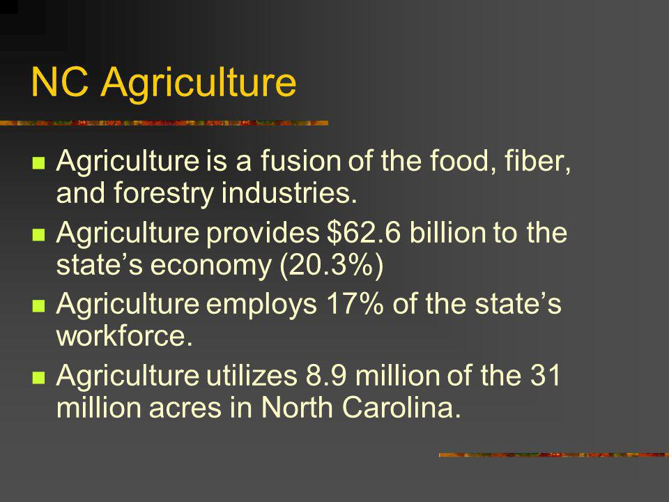 NC Agriculture Agriculture is a fusion of the food, fiber, and forestry industries.