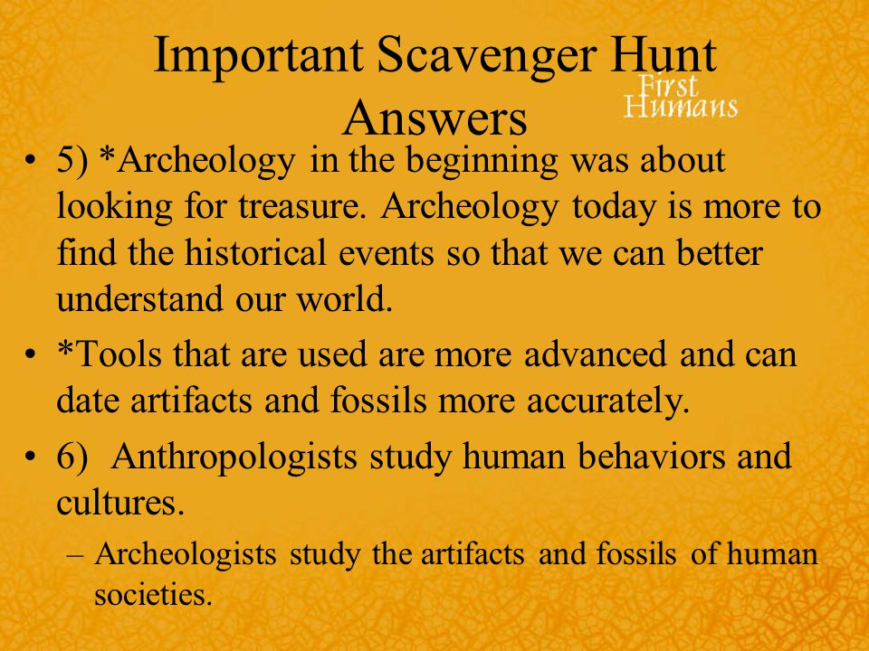 Important Scavenger Hunt Answers