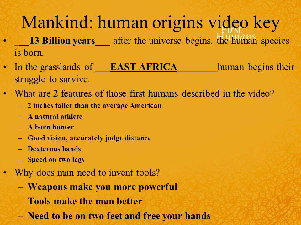 Mankind: human origins video key