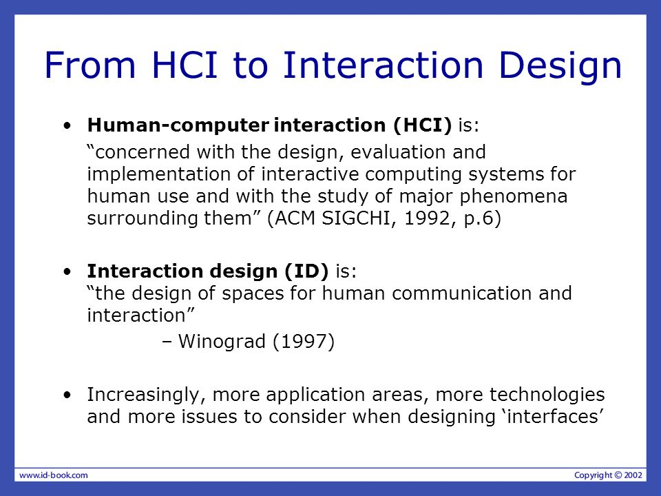 From HCI to Interaction Design