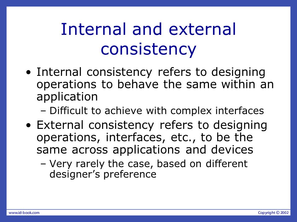 Internal and external consistency