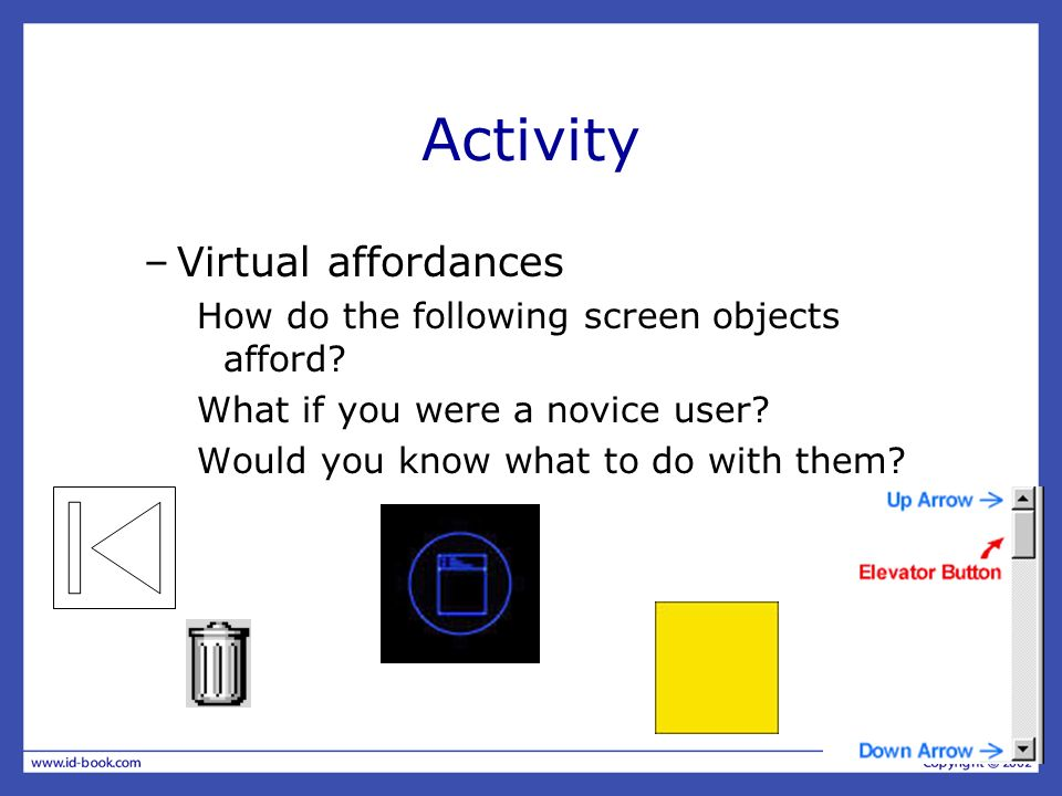 Activity Virtual affordances