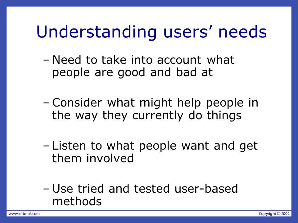 Understanding users' needs