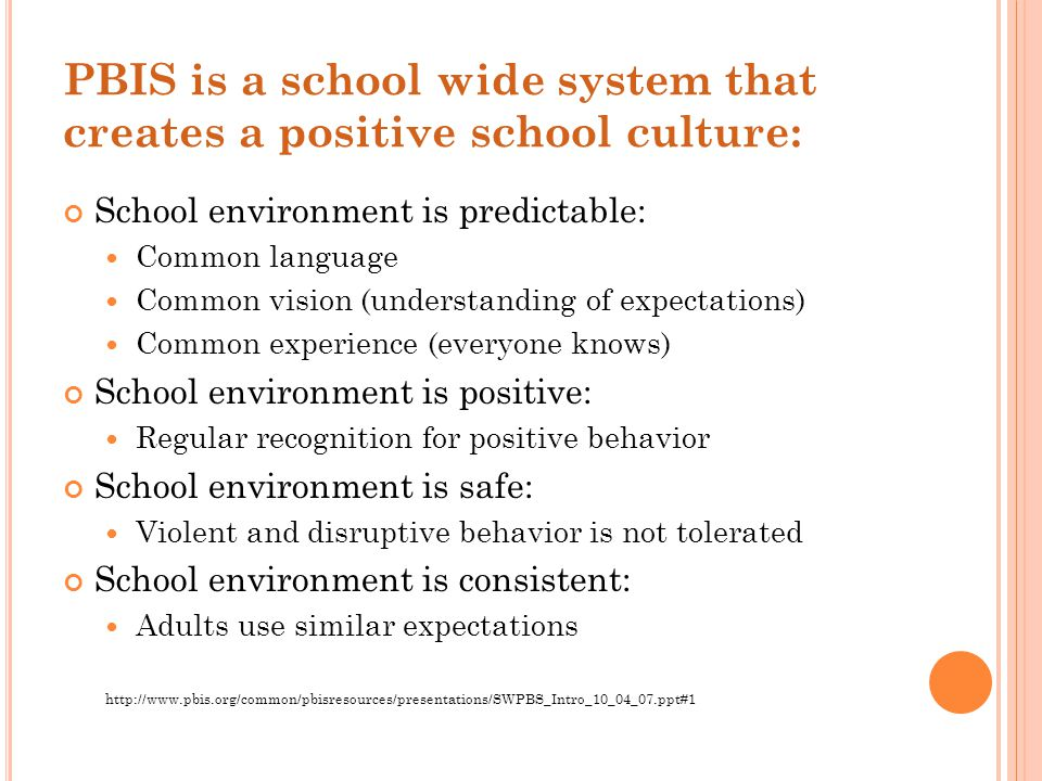 PBIS is a school wide system that creates a positive school culture: