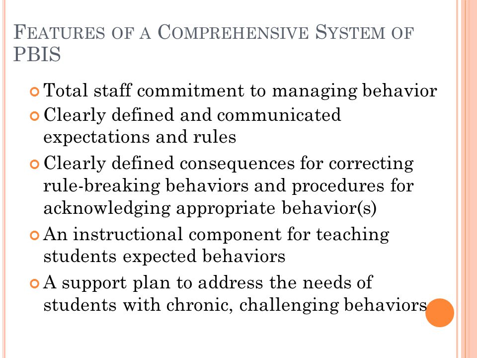 Features of a Comprehensive System of PBIS