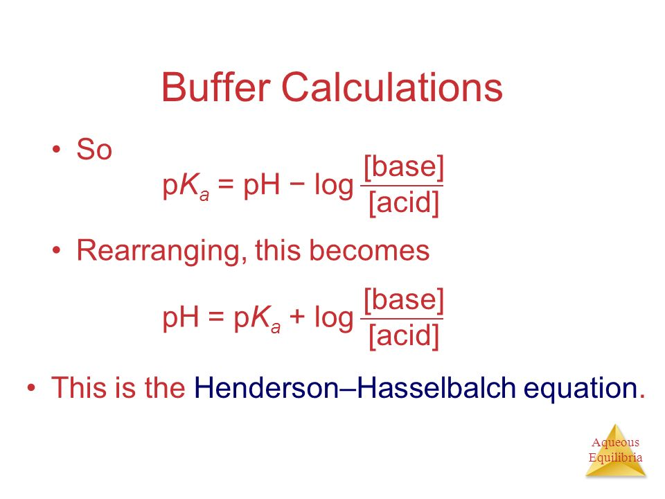 Buffer Calculations So pKa = pH − log [base] [acid]