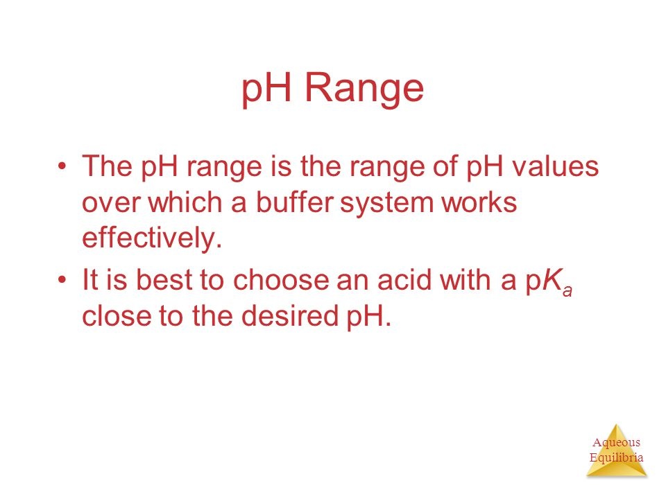 pH Range The pH range is the range of pH values over which a buffer system works effectively.