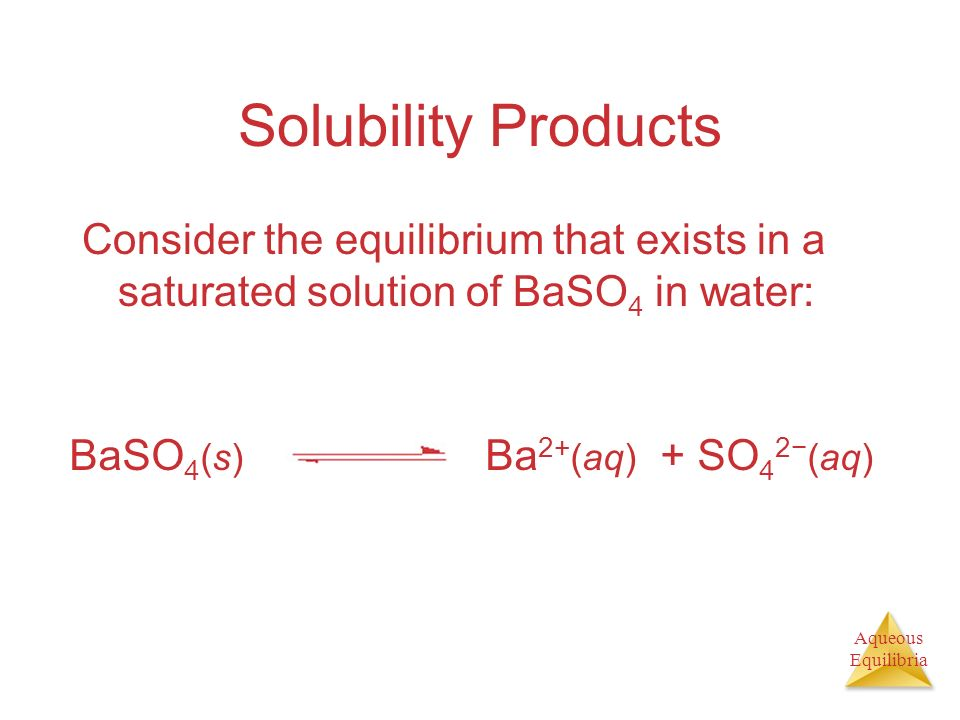 Solubility Products Consider the equilibrium that exists in a saturated solution of BaSO4 in water: