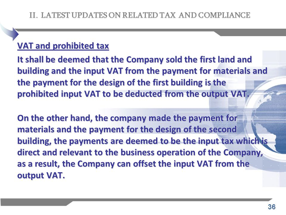 II. LATEST UPDATES ON RELATED TAX AND COMPLIANCE