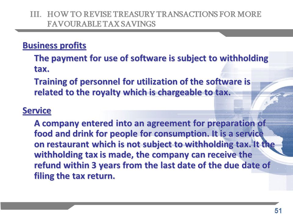 The payment for use of software is subject to withholding tax.