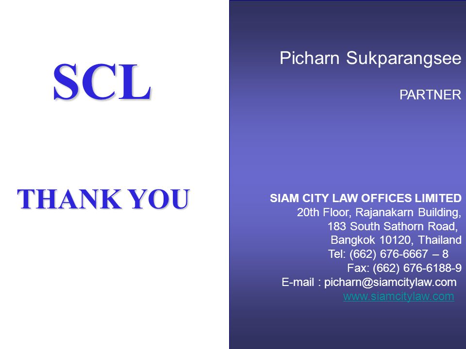 SCL THANK YOU Picharn Sukparangsee PARTNER
