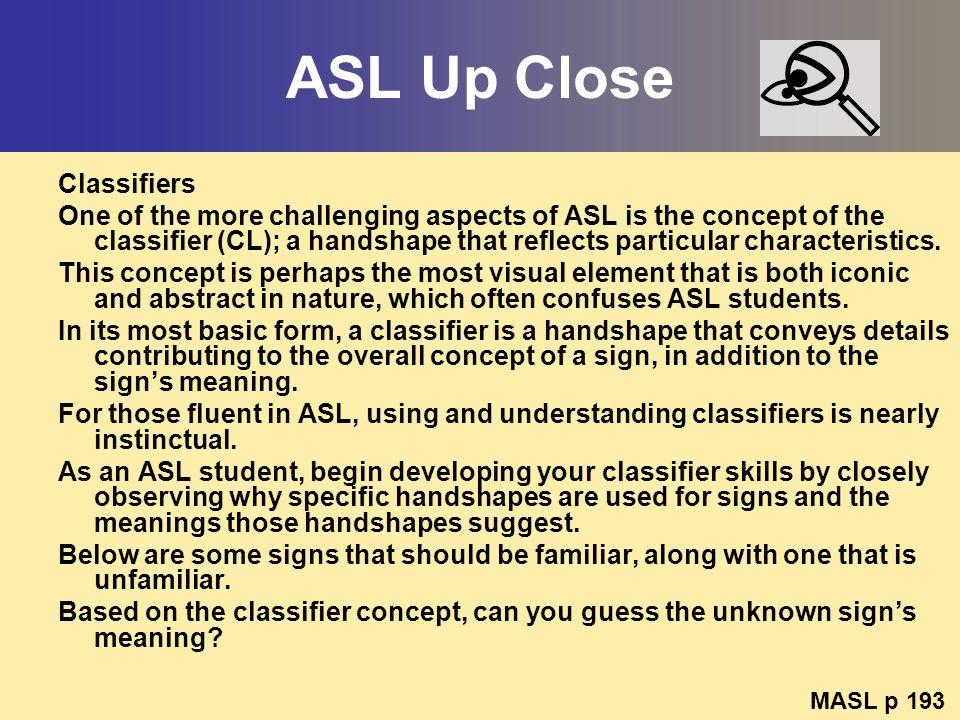 ASL Up Close Classifiers