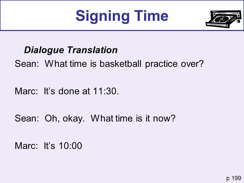 Signing Time Dialogue Translation