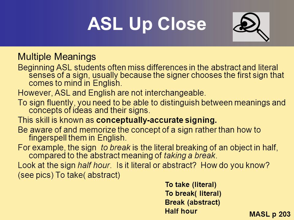 ASL Up Close Multiple Meanings