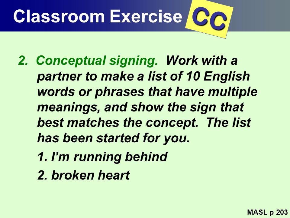 Classroom Exercise CC.