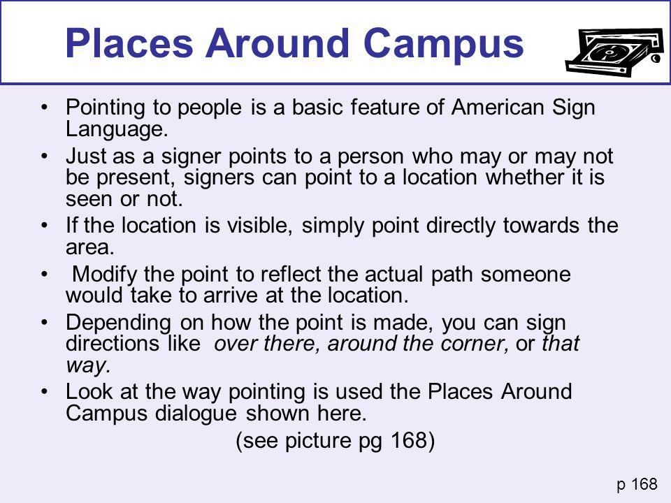 Places Around Campus Pointing to people is a basic feature of American Sign Language.