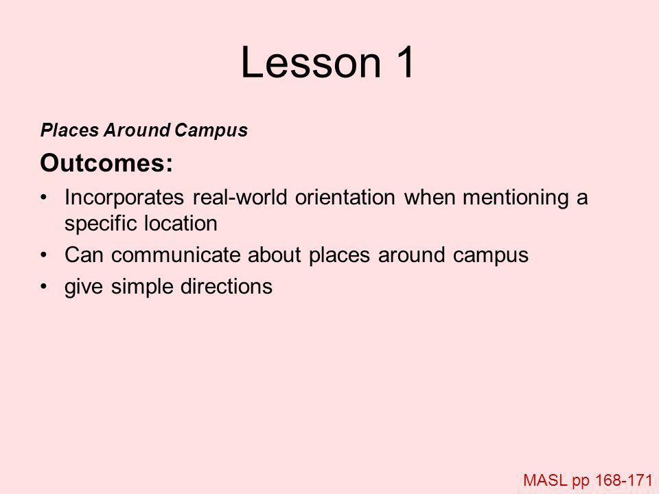 Lesson 1 Places Around Campus. Outcomes: Incorporates real-world orientation when mentioning a specific location.