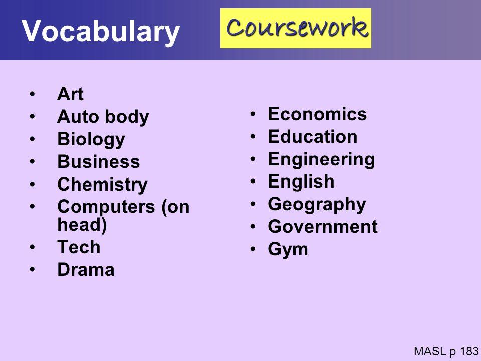 Vocabulary Coursework Art Auto body Economics Biology Education