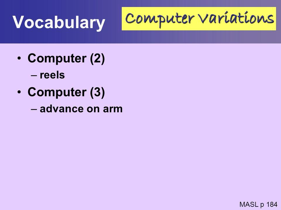 Vocabulary Computer Variations Computer (2) Computer (3) reels