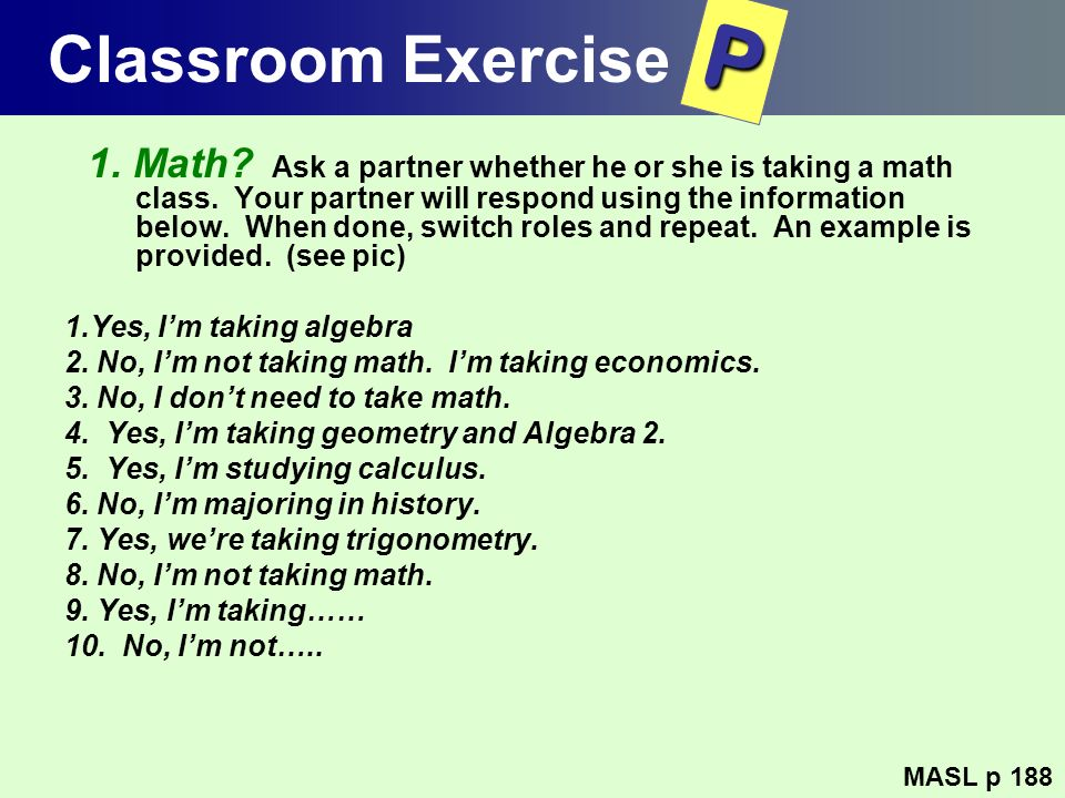 Classroom Exercise P.