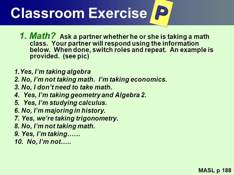 Classroom Exercise P.