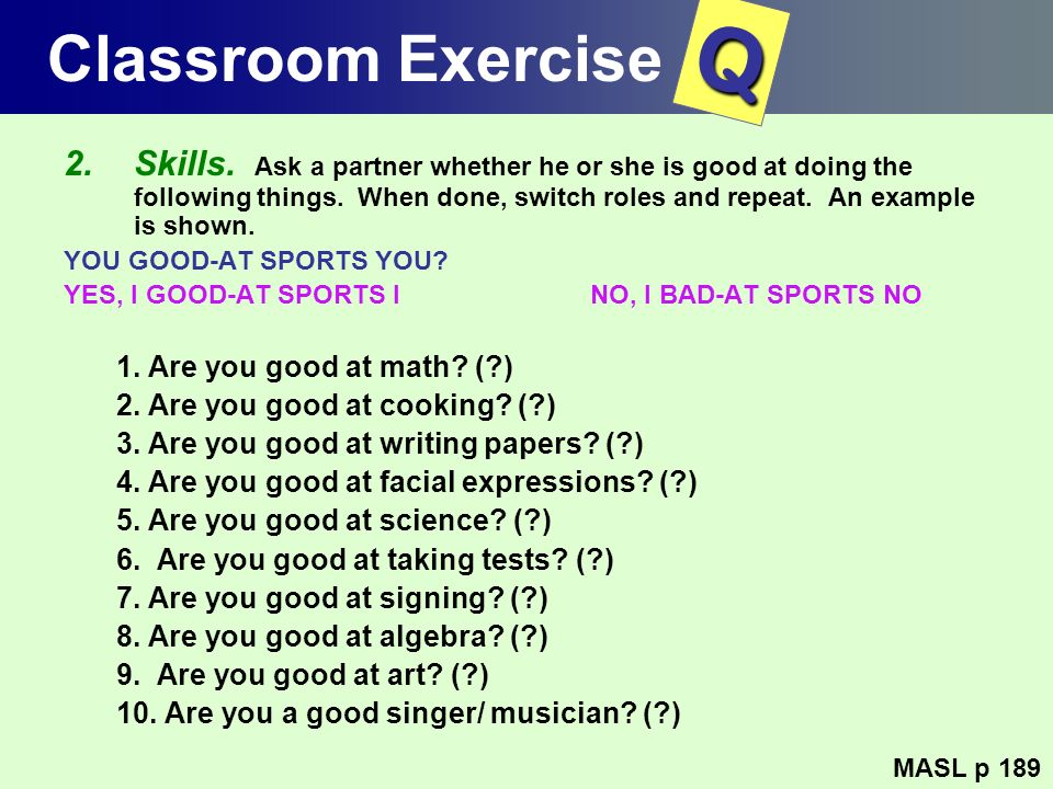 Classroom Exercise Q.