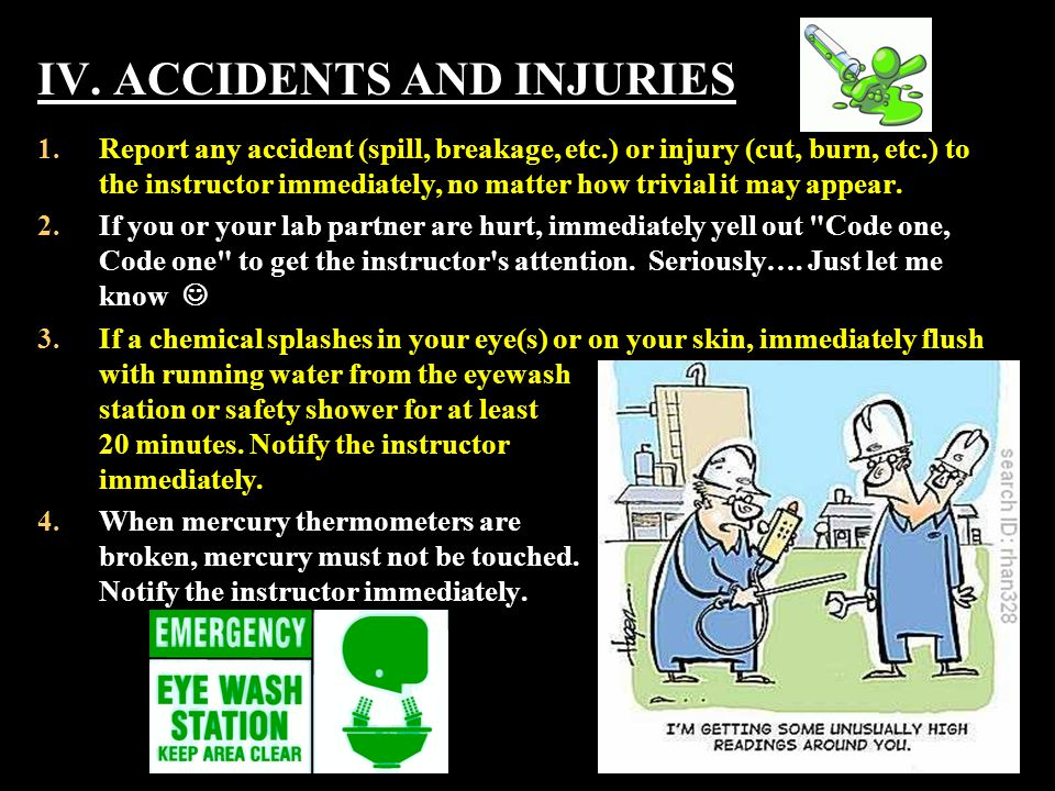 IV. ACCIDENTS AND INJURIES