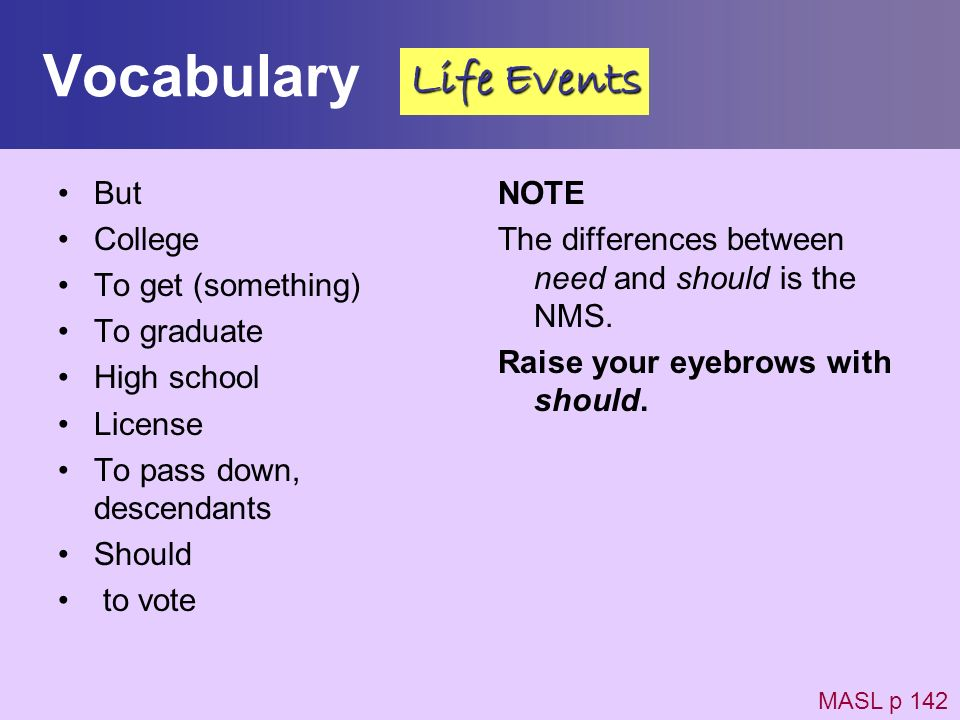 Vocabulary Life Events But College To get (something) To graduate