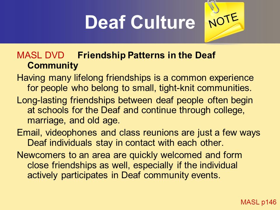 Deaf Culture NOTE MASL DVD Friendship Patterns in the Deaf Community