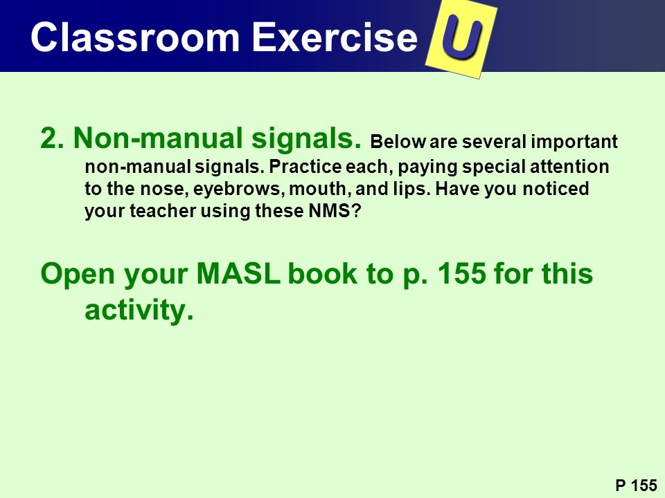 T U Classroom Exercise Classroom Exercise