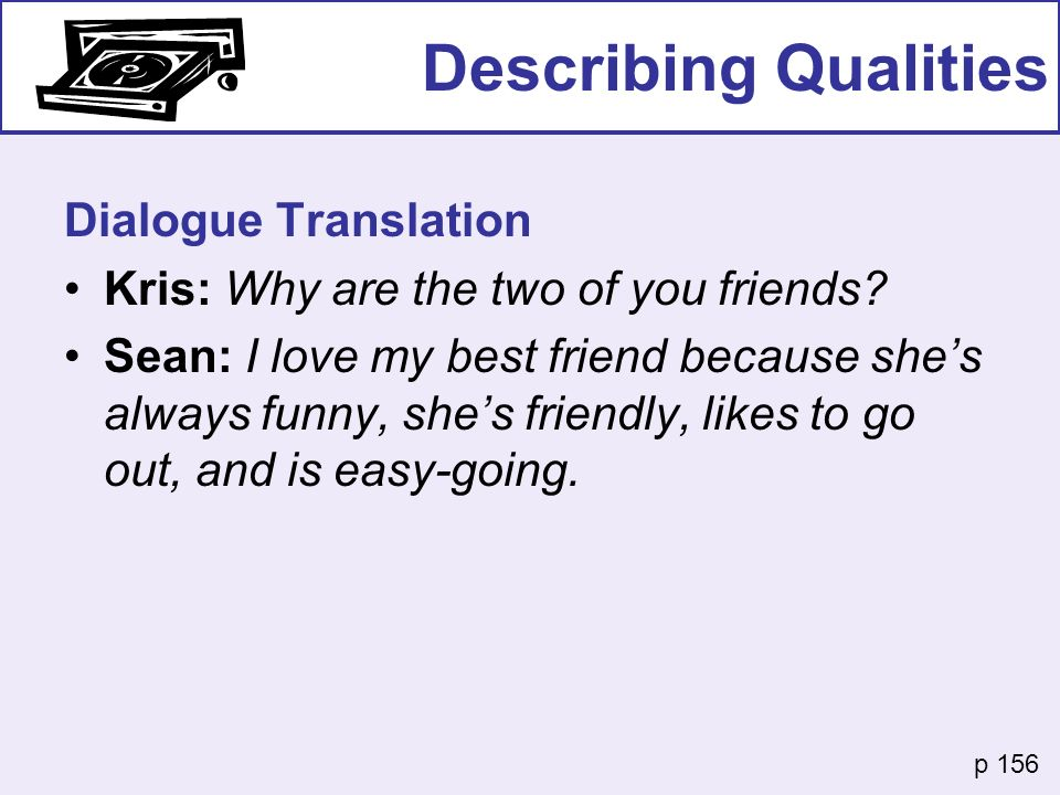 Describing Qualities Dialogue Translation