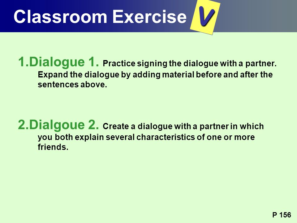 Classroom Exercise V.