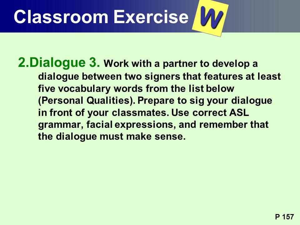 Classroom Exercise W.