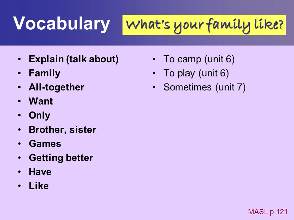 Vocabulary What's your family like Explain (talk about) Family
