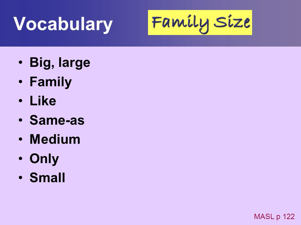 Vocabulary Family Size Big, large Family Like Same-as Medium Only
