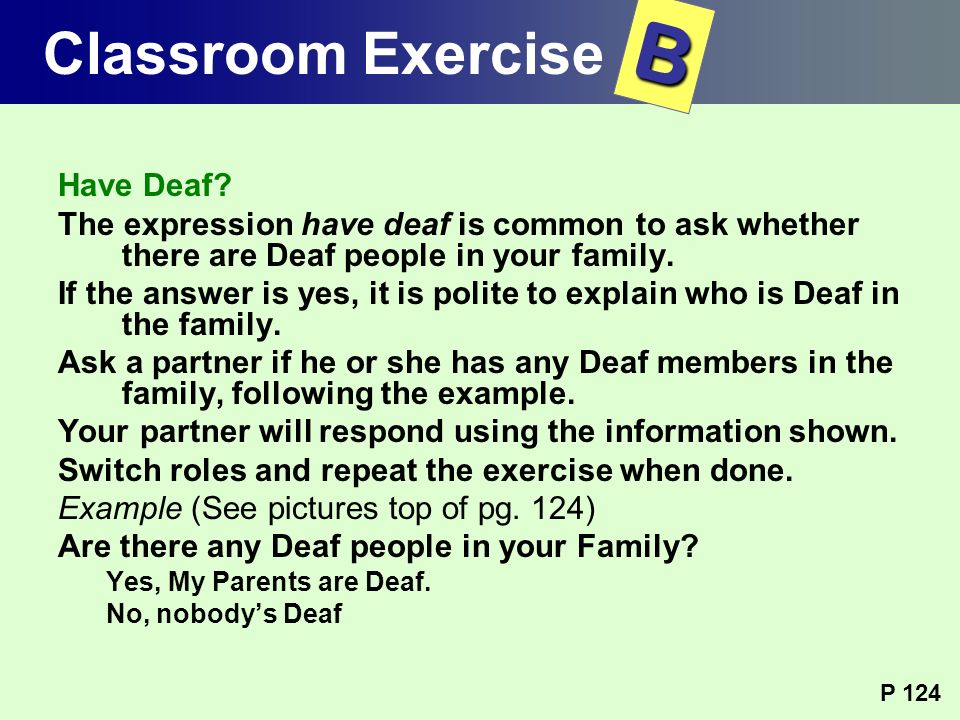 B Classroom Exercise Have Deaf