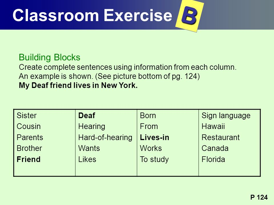 B Classroom Exercise Building Blocks