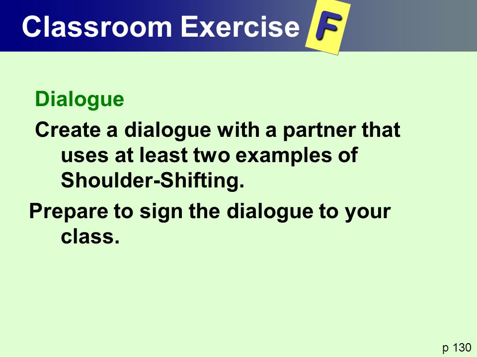 F Classroom Exercise Dialogue