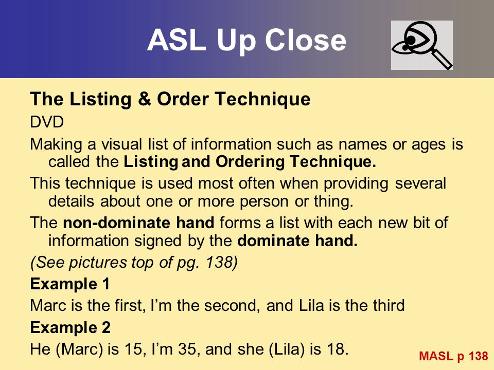 ASL Up Close The Listing & Order Technique DVD