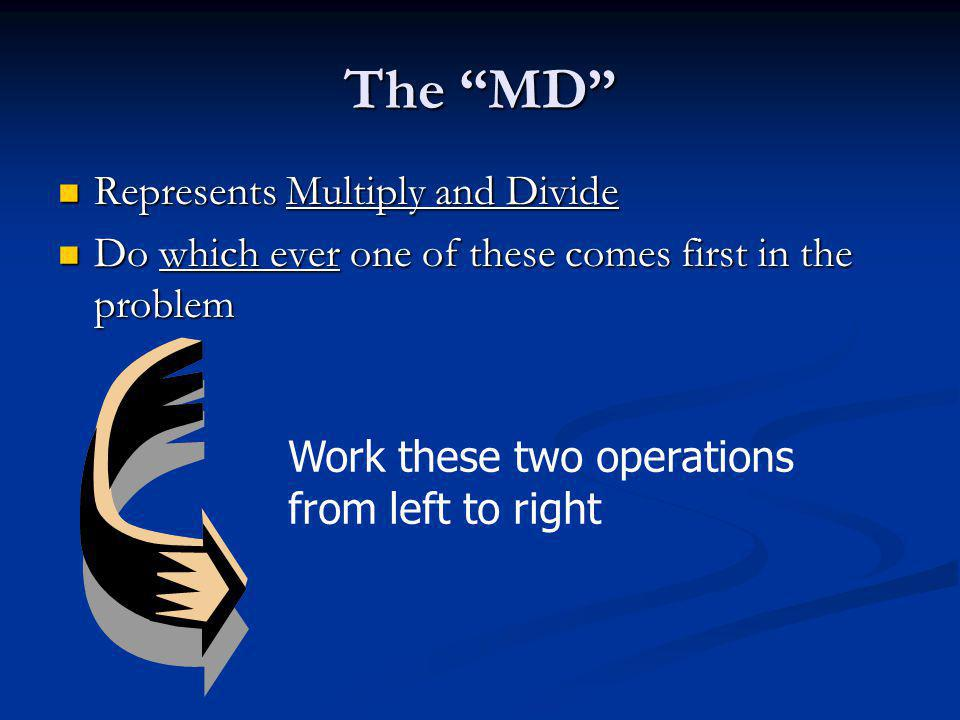 The MD Represents Multiply and Divide