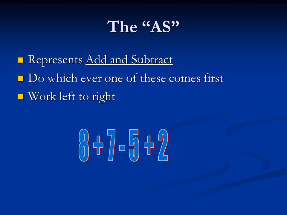 The AS 8 + 7 - 5 + 2 Represents Add and Subtract