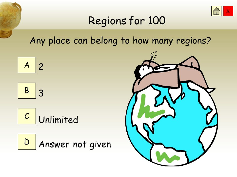 Regions for 100 Any place can belong to how many regions 2 3