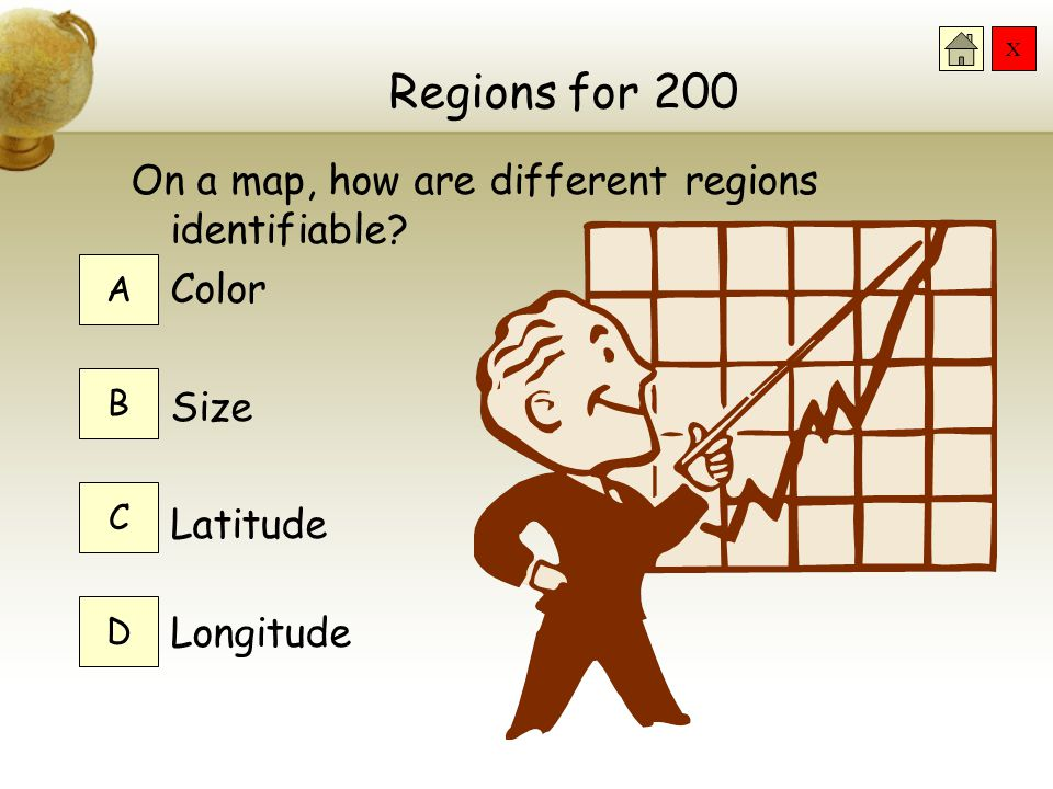 Regions for 200 On a map, how are different regions identifiable