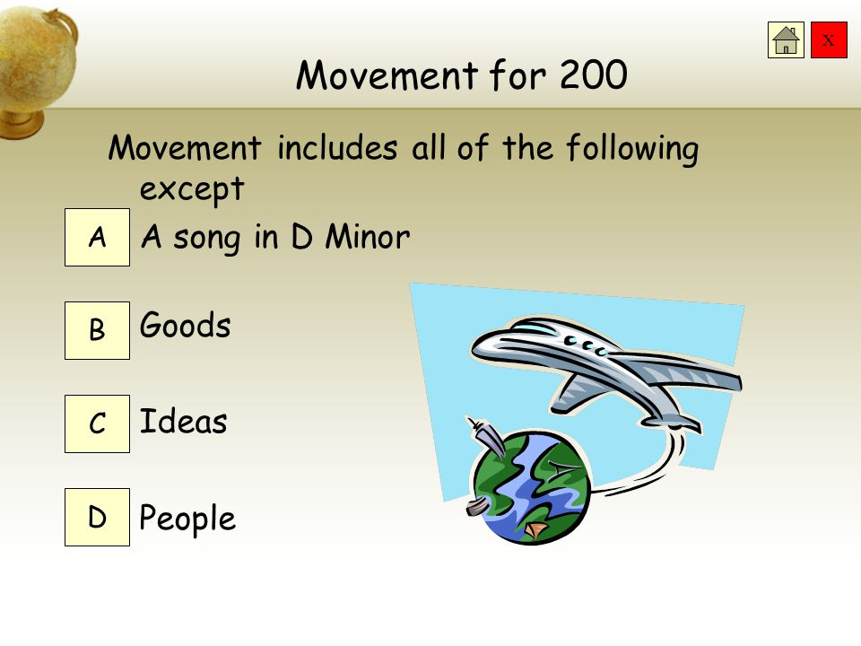 Movement for 200 Movement includes all of the following except