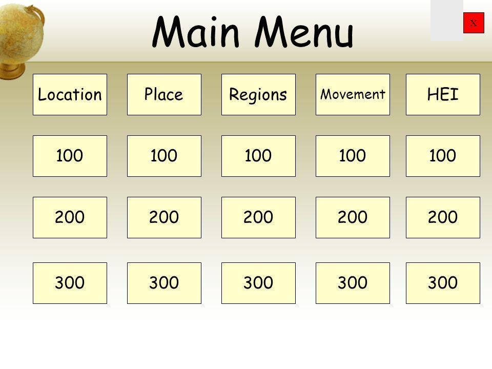 Main Menu Location Place Regions HEI 100 100 100 100 100 200 200 200
