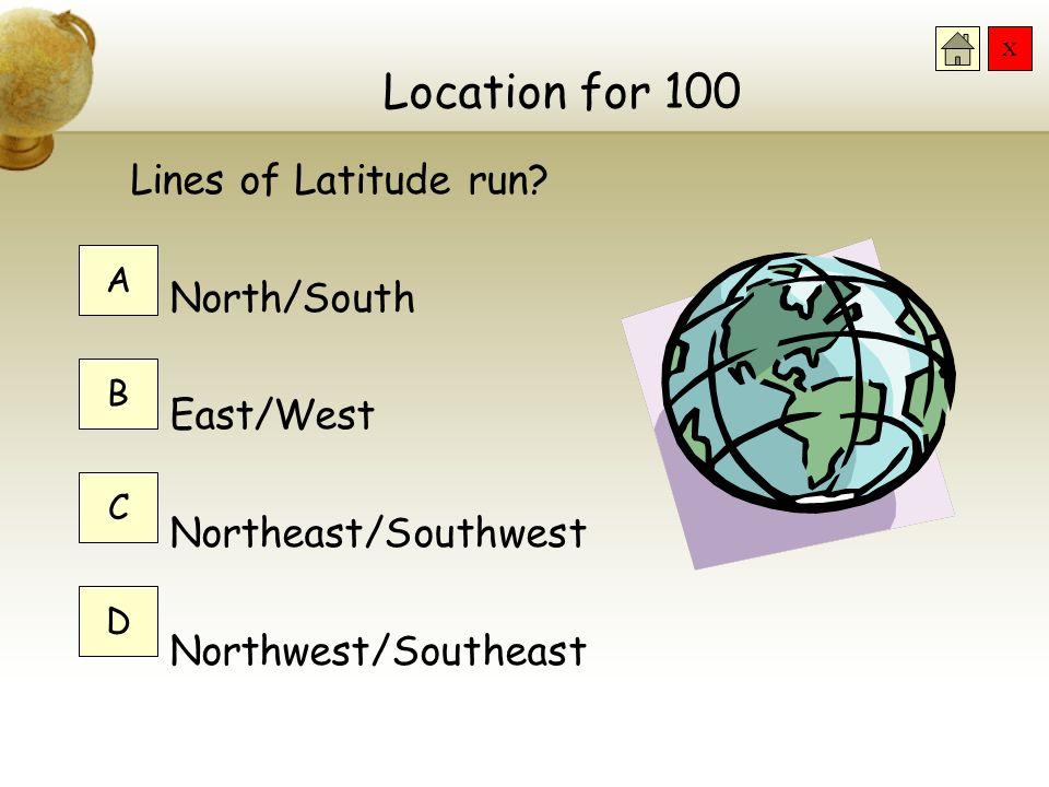 Location for 100 Lines of Latitude run North/South East/West
